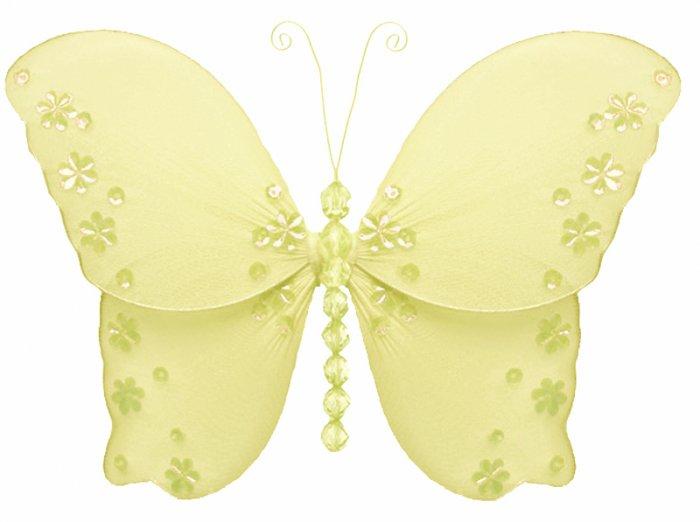 "5"""" Yellow Twinkle Bead Sequin Butterfly - nylon hanging ceiling wall baby nursery room wedding deco"