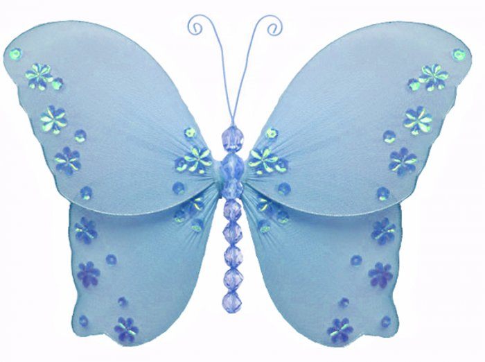 """13"""""""" Blue Twinkle Bead Sequin Butterfly - nylon hanging ceiling wall baby nursery room wedding decor"""