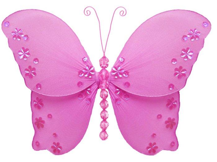 "10"""" Dark Pink (Fuschia) Twinkle Bead Sequin Butterfly - nylon hanging ceiling wall baby nursery roo"