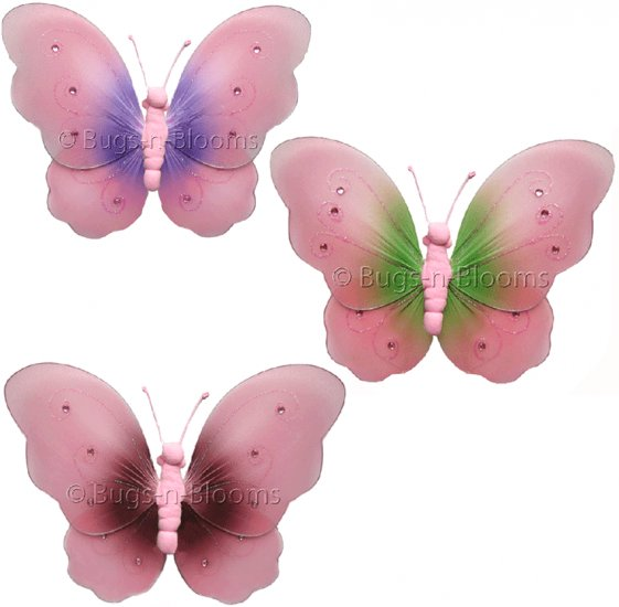 """10"""""""" Lot Two-Tone Butterflies 3 piece Set butterfly (Pink & Green, Pink & Brown, Pink & Purple) - ny"""
