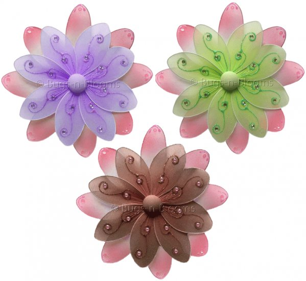 "6"" Lot Two-Tone Daisy Flowers 3 piece Set Daisies Flower (Pink & Green, Pink & Brown, Pink & Purple"
