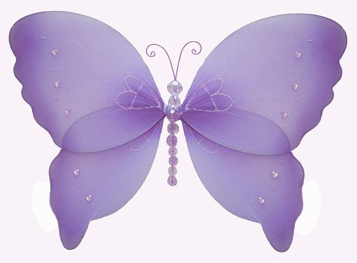 "7"""" Purple Crystal Butterfly - nylon hanging ceiling wall nursery bedroom decor decoration decoratio"
