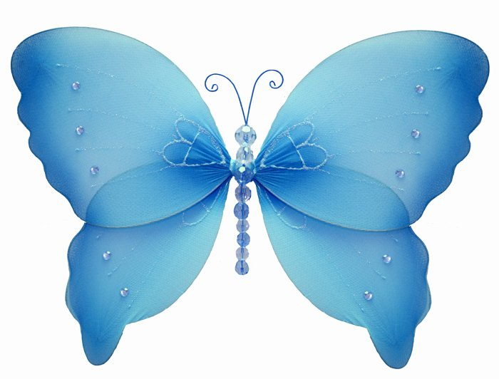 "7"""" Blue Crystal Butterfly - nylon hanging ceiling wall nursery bedroom decor decoration decorations"