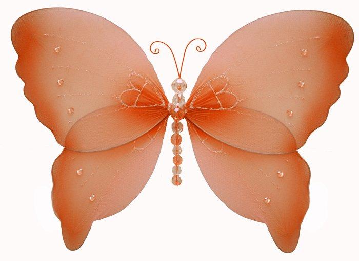 "7"""" Orange Crystal Butterfly - nylon hanging ceiling wall nursery bedroom decor decoration decoratio"