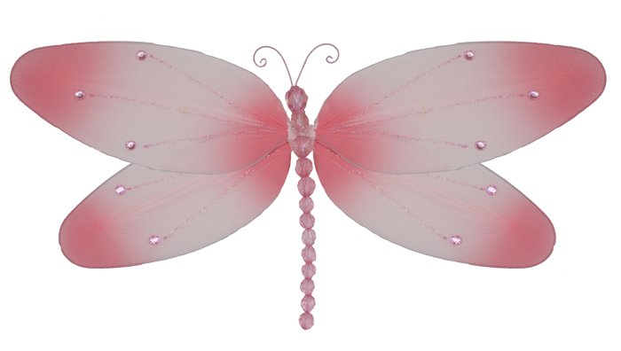 """10"""""""" Pink Crystal Dragonfly - nylon hanging ceiling wall nursery bedroom decor decoration decoration"""