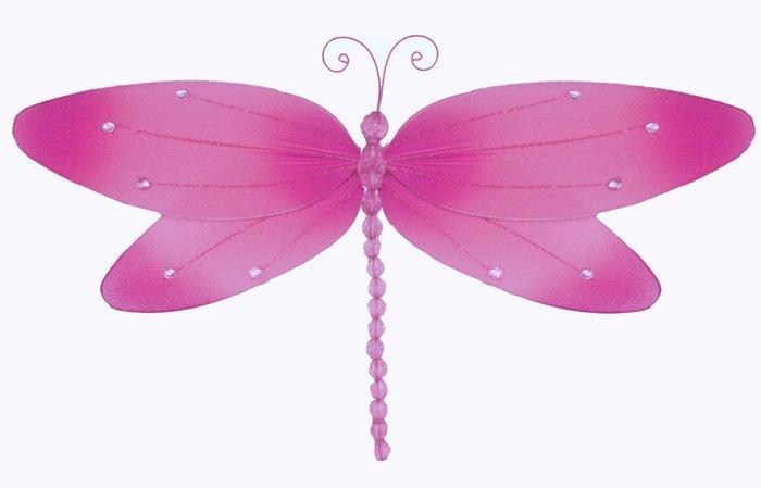 "7"""" Dark Pink (Fuschia) Crystal Dragonfly - nylon hanging ceiling wall nursery bedroom decor decorat"