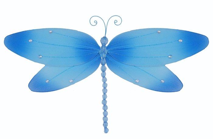 "13"""" Blue Crystal Dragonfly - nylon hanging ceiling wall nursery bedroom decor decoration decoration"