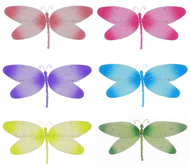 """10"""""""" Lot Crystal Dragonflies 6 piece Set dragonfly - nylon hanging ceiling wall nursery bedroom deco"""