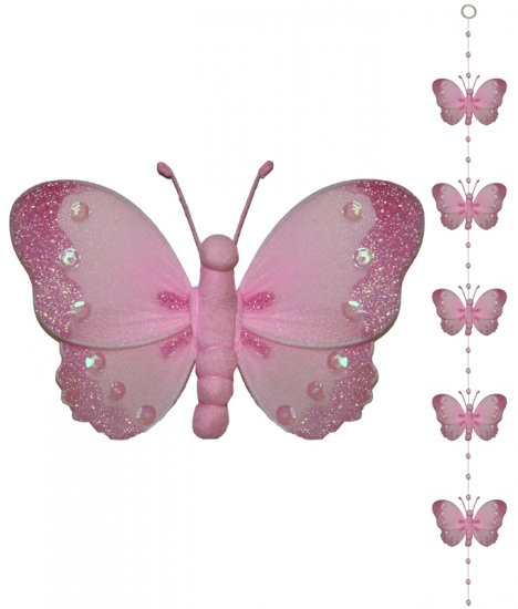 Pink Butterfly Garland String Mobile - nylon hanging ceiling wall nursery bedroom decor decoration d