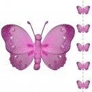 Dark Pink (Fuschia) Butterfly Garland String Mobile - nylon hanging ceiling wall nursery bedroom dec
