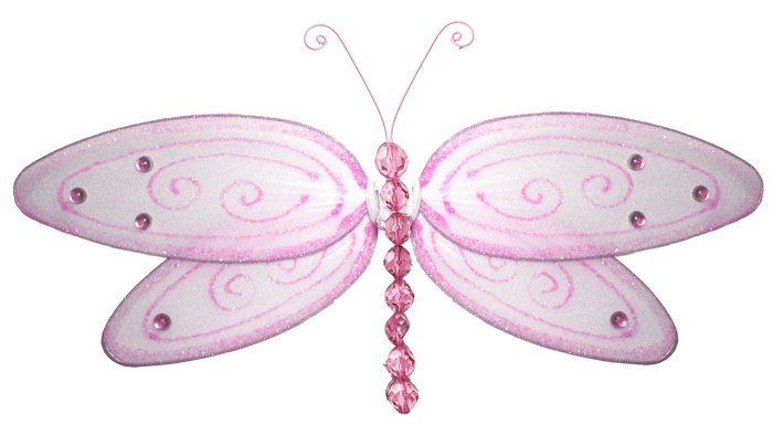 "5"""" Pink Glitter Dragonfly - nylon hanging ceiling wall nursery bedroom decor decoration decorations"