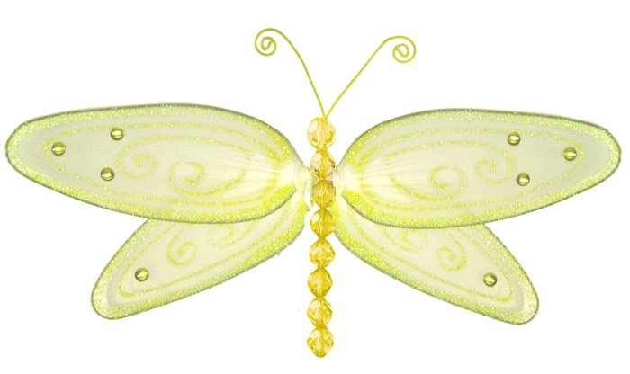 "5"""" Yellow Glitter Dragonfly - nylon hanging ceiling wall nursery bedroom decor decoration decoratio"