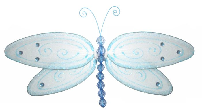 "5"""" Blue Glitter Dragonfly - nylon hanging ceiling wall nursery bedroom decor decoration decorations"