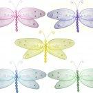 "13"""" Lot Glitter Dragonflies 5 piece Set dragonfly - nylon hanging ceiling wall nursery bedroom deco"