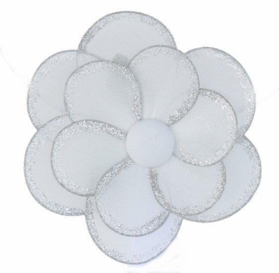 "8"""" White Glitter Layered Daisy Flower - nylon hanging ceiling wall nursery bedroom decor decoration"