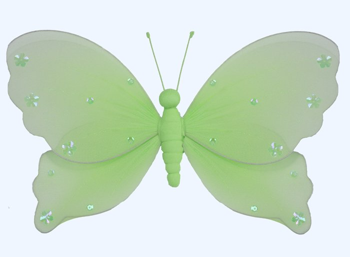 "5"""" Green Jewel Butterfly - nylon hanging ceiling wall nursery bedroom decor decoration decorations"