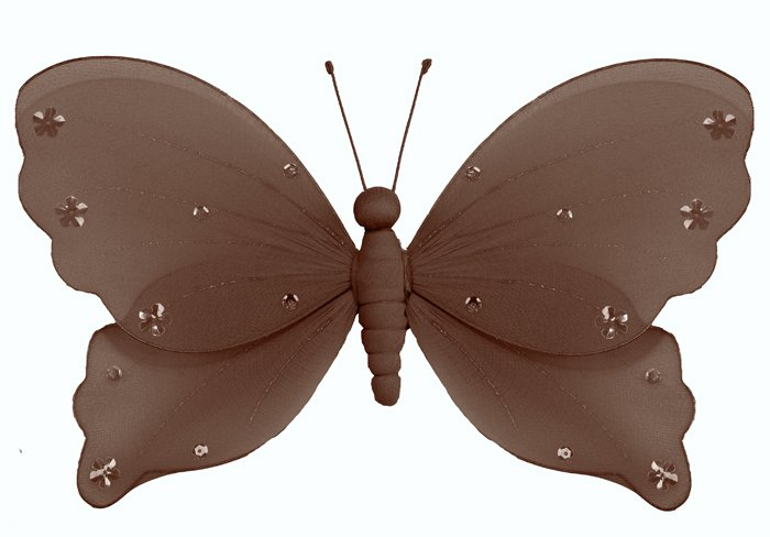 """10"""""""" Brown Jewel Butterfly - nylon hanging ceiling wall nursery bedroom decor decoration decorations"""