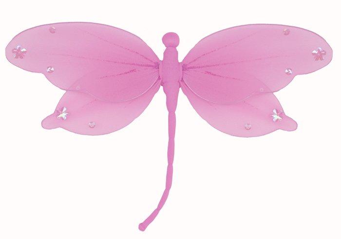 "13"""" Dark Pink (Fuschia) Jewel Dragonfly - nylon hanging ceiling wall nursery bedroom decor decorati"