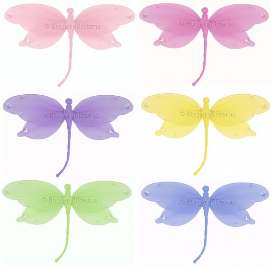 "10"""" Lot Jewel Dragonflies 6 piece Set dragonfly  - nylon hanging ceiling wall nursery bedroom decor"