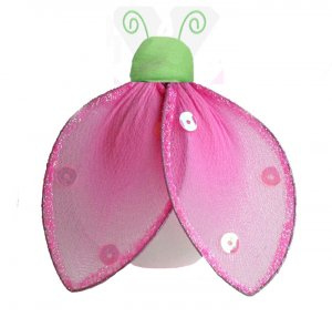 "4"""" Green Pink Glitter Ladybug - nylon hanging ceiling wall nursery bedroom decor decoration decorat"