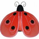 "4"""" Red Black Shimmer Ladybug - nylon hanging ceiling wall nursery bedroom decor decoration decorati"