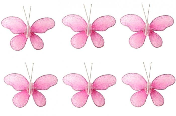 "2"""" Dark Pink (Fuschia) Mini Glitter Butterfly Butterflies 6pc set - nylon hanging ceiling wall nurs"