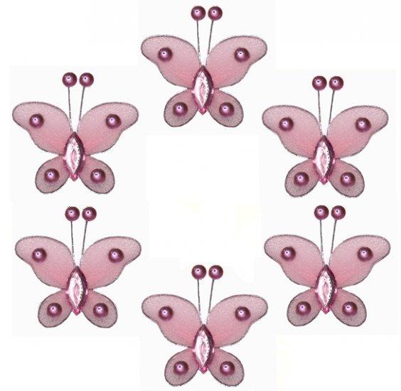 "2"""" Pink Mini Bead Butterfly Butterflies 6pc set - nylon hanging ceiling wall nursery bedroom decor"