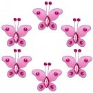 "2"""" Dark Pink (Fuschia) Mini Bead Butterfly Butterflies 6pc set - nylon hanging ceiling wall nursery"