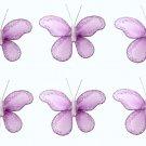 """2"""""""" Purple Mini Glitter Butterfly Butterflies 6pc set - nylon hanging ceiling wall nursery bedroom d"""