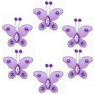"2"""" Purple Mini Bead Butterfly Butterflies 6pc set - nylon hanging ceiling wall nursery bedroom deco"