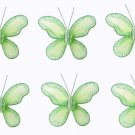 "2"""" Green Mini Glitter Butterfly Butterflies 6pc set - nylon hanging ceiling wall nursery bedroom de"