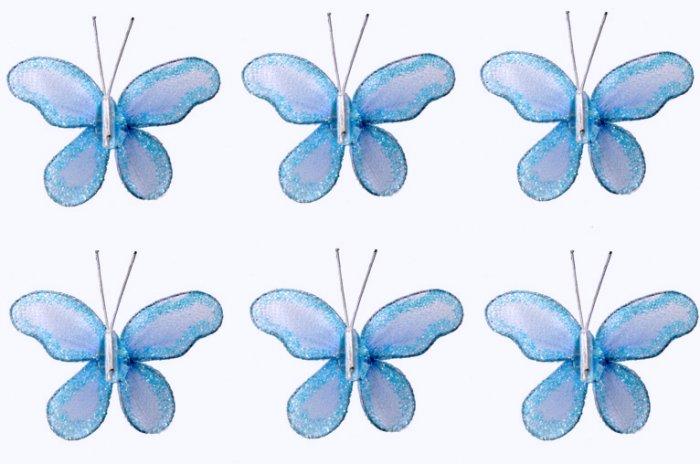"""2"""""""" Blue Mini Glitter Butterfly Butterflies 6pc set - nylon hanging ceiling wall nursery bedroom dec"""