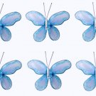 "2"""" Blue Mini Glitter Butterfly Butterflies 6pc set - nylon hanging ceiling wall nursery bedroom dec"