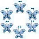 "2"""" Blue Mini Bead Butterfly Butterflies 6pc set - nylon hanging ceiling wall nursery bedroom decor"