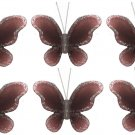 "2"""" Brown Mini Glitter Butterfly Butterflies 6pc set - nylon hanging ceiling wall nursery bedroom de"