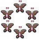 "2"""" Brown Pink Mini Bead Butterfly Butterflies 6pc set - nylon hanging ceiling wall nursery bedroom"