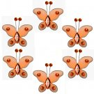"2"""" Orange Mini Bead Butterfly Butterflies 6pc set - nylon hanging ceiling wall nursery bedroom deco"