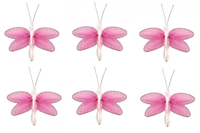 "2"""" Dark Pink (Fuschia) Mini Glitter Dragonfly Dragonflies 6pc set - nylon hanging ceiling wall nurs"