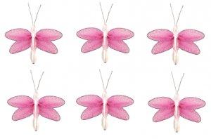 "2"""" Dark Pink (Fuschia) Mini Glitter Dragonfly Dragonflies 6pc set - nylon hanging ceiling wall nurs"