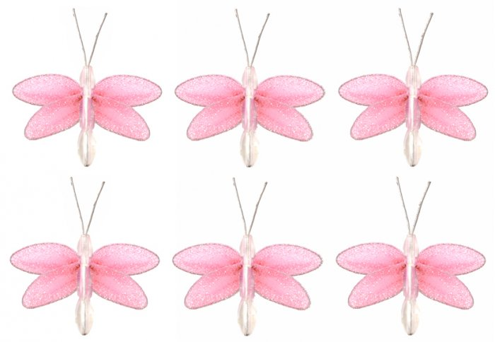 "2"""" Pink Mini Glitter Dragonfly Dragonflies 6pc set  - nylon hanging ceiling wall nursery bedroom de"