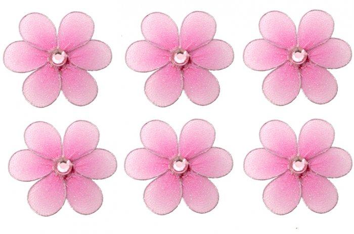 "2"""" Dark Pink (Fuschia) Mini Daisy Flower Daisies Flowers 6pc set - nylon hanging ceiling wall nurse"