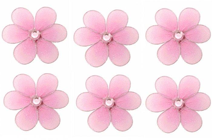 "2"""" Pink Mini Daisy Flower Daisies Flowers 6pc set - nylon hanging ceiling wall nursery bedroom deco"