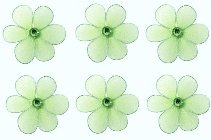 "2"""" Green Mini Daisy Flower Daisies Flowers 6pc set - nylon hanging ceiling wall nursery bedroom dec"