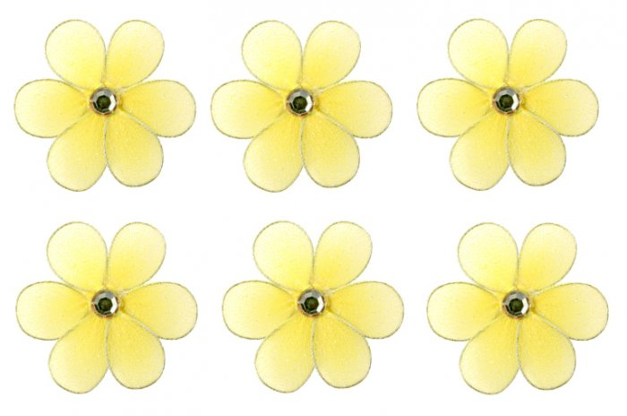 "2"""" Yellow Mini Daisy Flower Daisies Flowers 6pc set - nylon hanging ceiling wall nursery bedroom de"