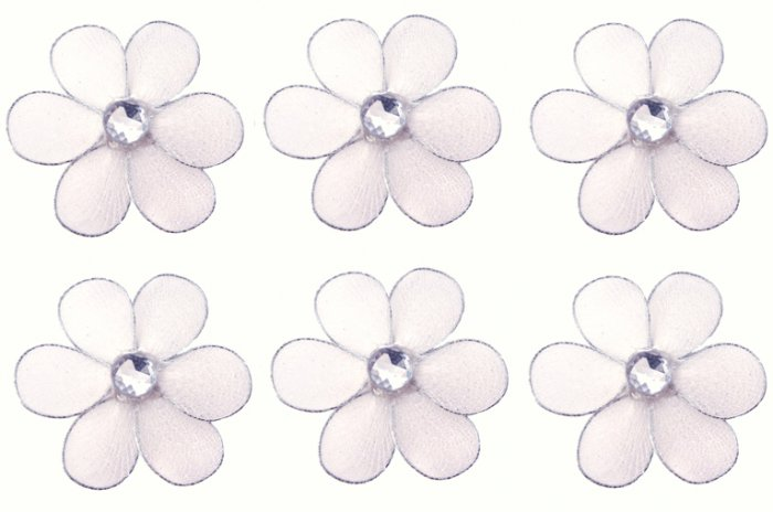 "2"""" White Mini Daisy Flower Daisies Flowers 6pc set - nylon hanging ceiling wall nursery bedroom dec"