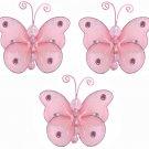 "3"""" Pink Mini Wire Bead Butterfly Butterflies 3pc set - nylon hanging ceiling wall nursery bedroom d"