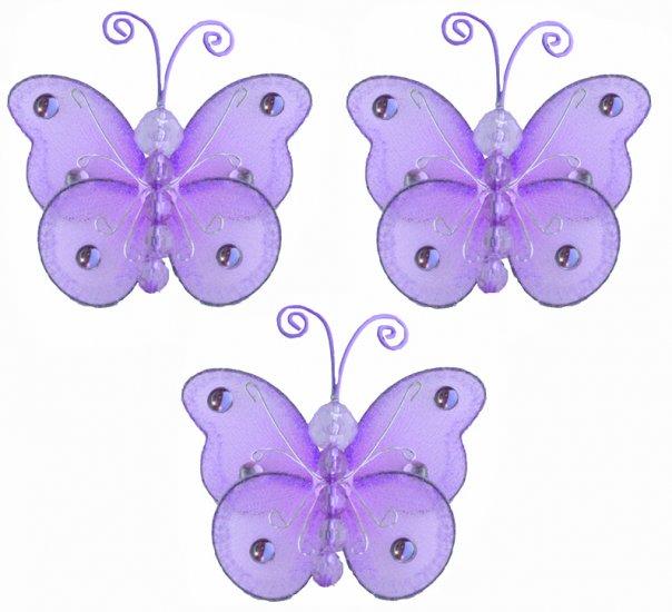 """3"""""""" Purple Mini Wire Bead Butterfly Butterflies 3pc set - nylon hanging ceiling wall nursery bedroom"""