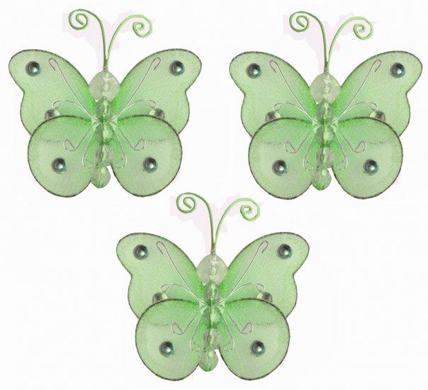 "3"""" Green Mini Wire Bead Butterfly Butterflies 3pc set - nylon hanging ceiling wall nursery bedroom"