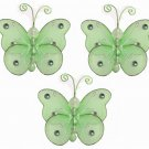"3"""" Green Mini Wire Bead Butterfly Butterflies 3pc set - nylon hanging ceiling wall nursery bedroom"