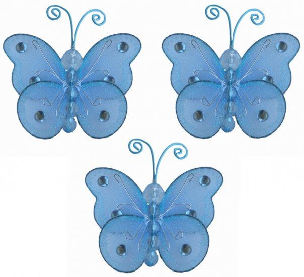 """3"""""""" Blue Mini Wire Bead Butterfly Butterflies 3pc set - nylon hanging ceiling wall nursery bedroom d"""